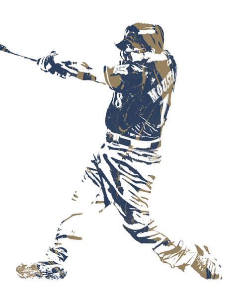 Wall Art - Mixed Media - Mike Moustakas Milwaukee Brewers Pixel Art 3 by Joe Hamilton
