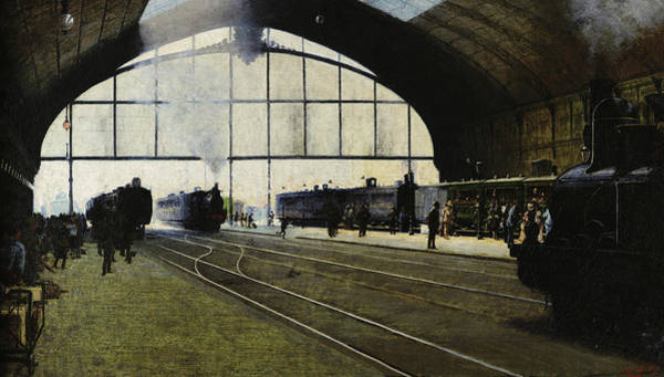 Lazare Painting - Milan Central Station In 1889 by Angelo Morbelli