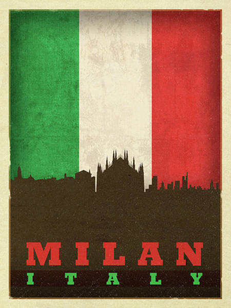 Wall Art - Mixed Media - Milan Italy City Skyline Flag by Design Turnpike