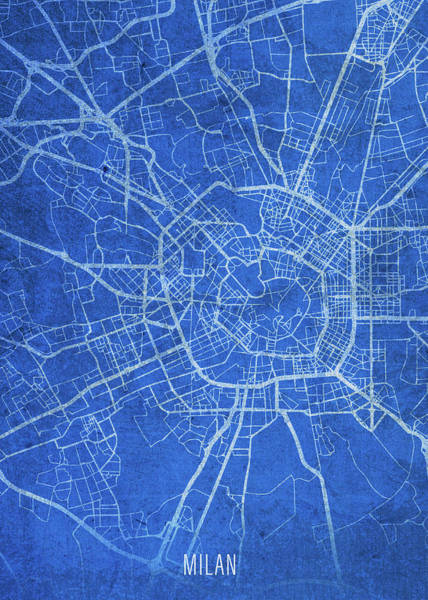 Wall Art - Mixed Media - Milan Italy City Street Map Blueprints by Design Turnpike
