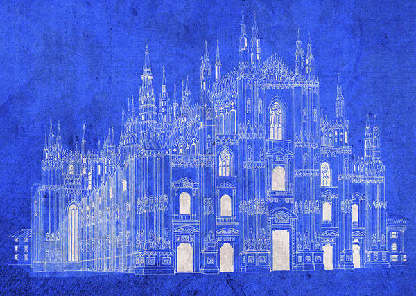 Catholic Mixed Media - Milan Italy Duomo Cathedral Vintage Blueprints Plans by Design Turnpike