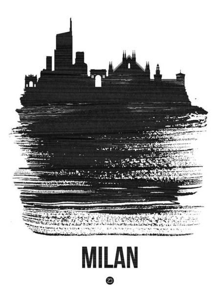 Wall Art - Mixed Media - Milan Skyline Brush Stroke Black by Naxart Studio