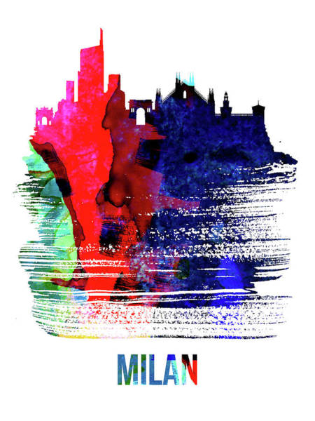 Wall Art - Mixed Media - Milan Skyline Brush Stroke Watercolor   by Naxart Studio