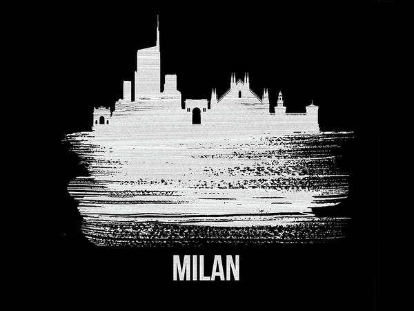 Wall Art - Mixed Media - Milan Skyline Brush Stroke White by Naxart Studio