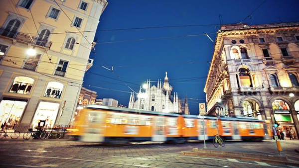 Public Places Wall Art - Photograph - Milan Tram In Motion by Peeterv