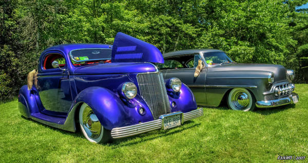 Digital Art - Mild Customs 1936 Ford And 1953 Chevy by Ken Morris