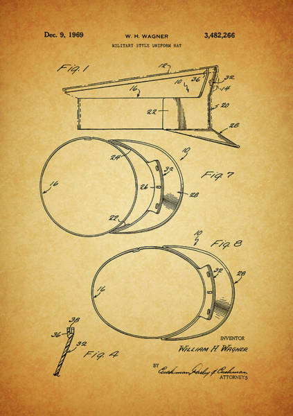 Drawing - Military Hat Patent by Dan Sproul