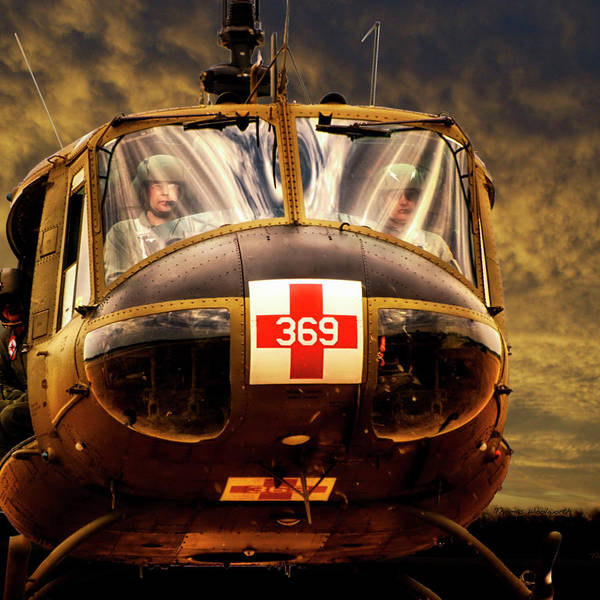 Wall Art - Photograph - Military Vietnam Era Medivac 369 Helicopter Sq Format by Thomas Woolworth