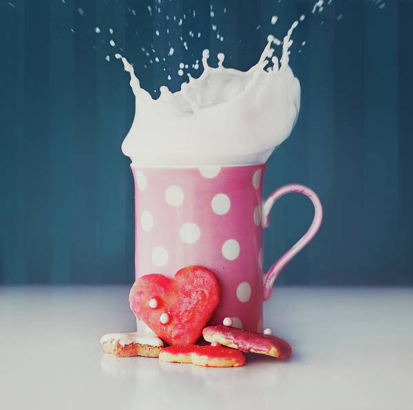 Mug Photograph - Milk And Heart Shape Cookies by Julia Davila-lampe