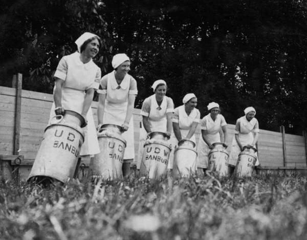Apron Photograph - Milk Maids by E Dean