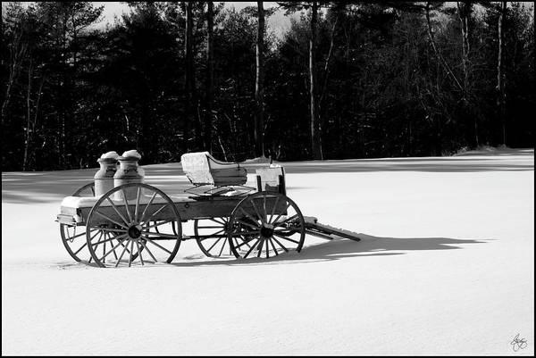 Photograph - Milk Wagon Monochrome by Wayne King