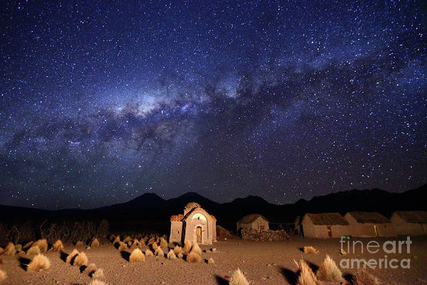 Photograph - Milky Way Above Abandoned Village And Church Bolivia by James Brunker