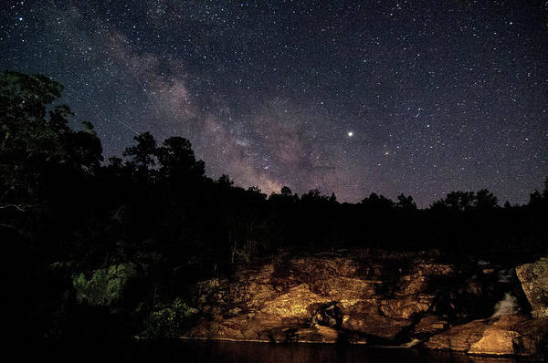Photograph - Milky Way At Rocky Falls by Steve Stuller