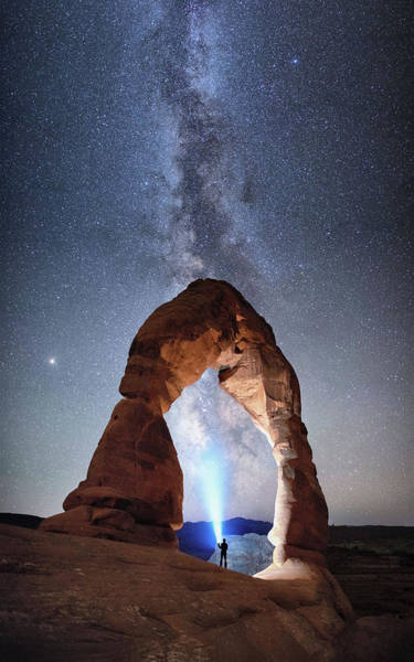 Photograph - Milky Way Night Sky In Moab Arches National Park By Olena Art by OLena Art Brand