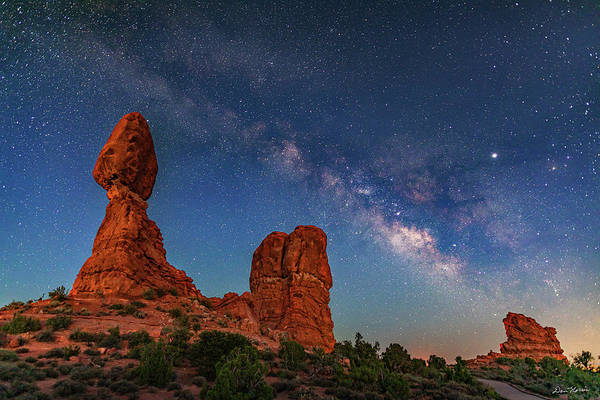 Wall Art - Photograph -  Milky Way Over Balanced Rock At Twilight by Dan Norris