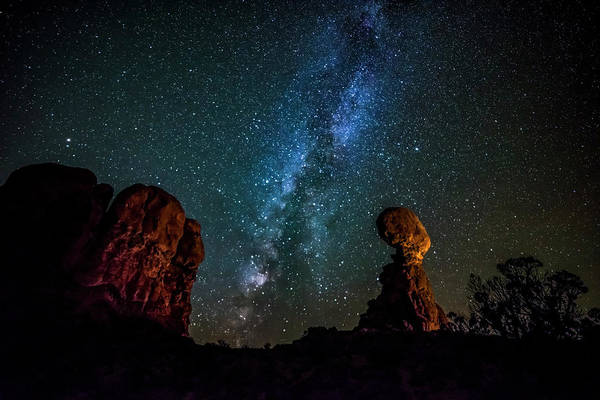Photograph - Milky Way Over Balanced Rock by David Morefield