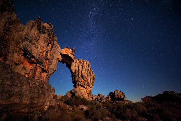Natural Arch Photograph - Milky Way Over Moonlit Wolfberg Arch by Hougaard Malan