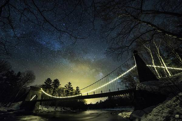 Milky Way Over The Wire Bridge Art Print
