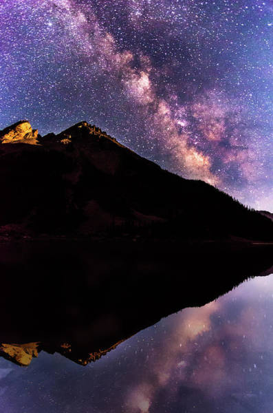 Colorado Photograph - Milky Way Reflected In Crater Lake by Photo By Matt Payne Of Durango, Colorado