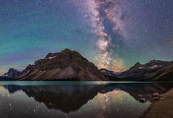 Wall Art - Photograph - Milky Way Reflections At Bow Lake by Alan Dyer