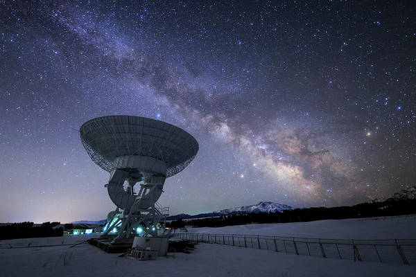 Wall Art - Photograph - Milky Way Rises Above A Radio Telescope by Jeff Dai