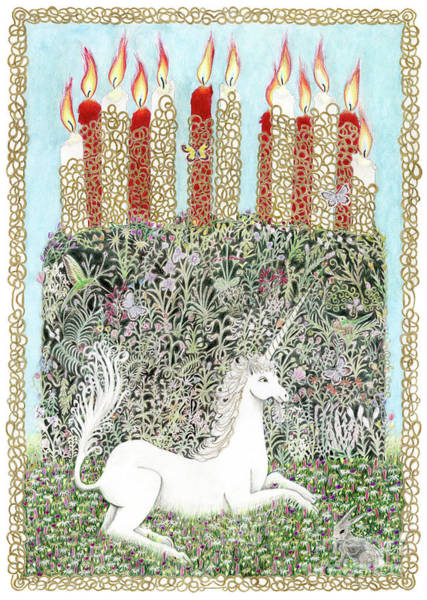 Drawing - Millefleurs Birthday Cake With Unicorn And Rabbit by Lise Winne