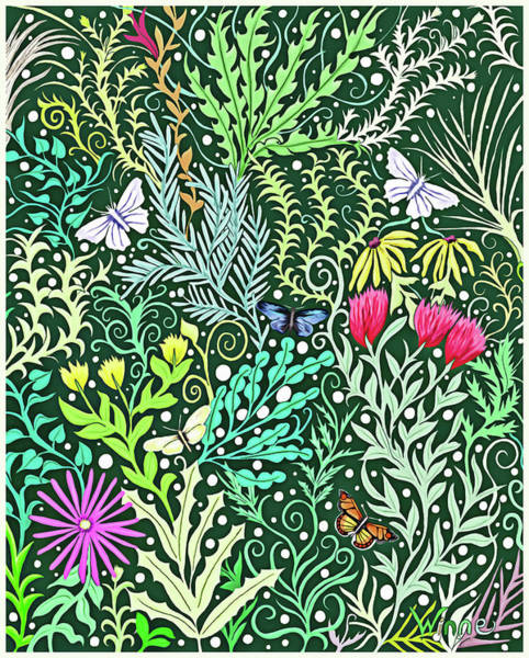 Tapestry - Textile - Millefleurs Dark Green Tapestry Design With Four Butterflies by Lise Winne