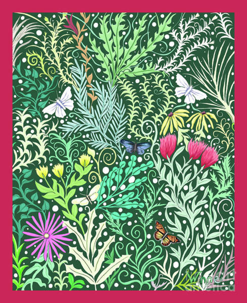 Tapestry - Textile - Millefleurs With Red Border by Lise Winne