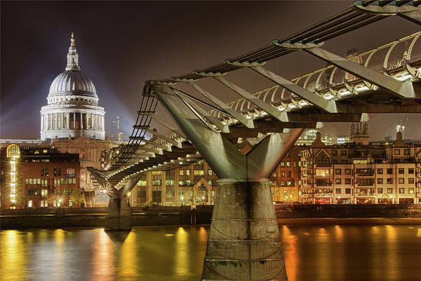 Millennium Photograph - Millenium Bridge And St. Pauls Cathedral by Maurice Ford