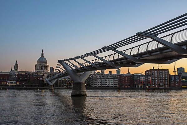 Photograph - Millennium Bridge At Sunrise Thames River London Uk United Kingdom by Toby McGuire