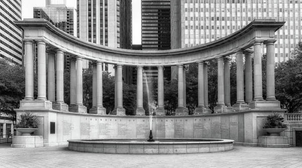 Wall Art - Photograph - Millennium Monument In Wrigley Square Bw by Jerry Fornarotto