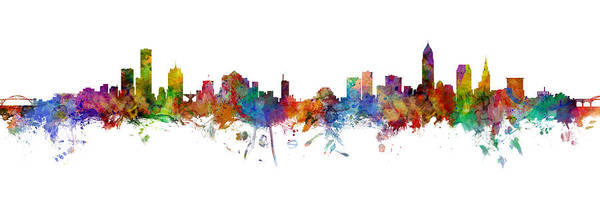 Wall Art - Digital Art - Milwaukee And Cleveland Skylines Mashup by Michael Tompsett