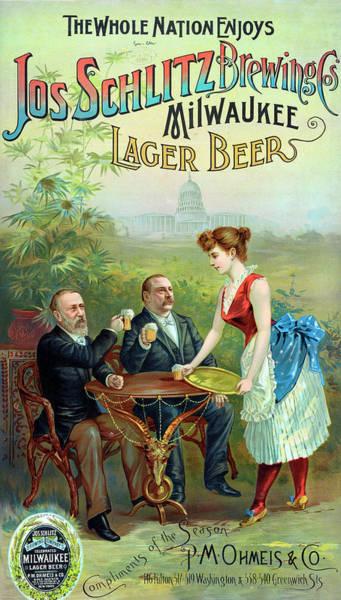 Digital Art - Milwaukee Lager Beer Poster Remastered by Carlos Diaz