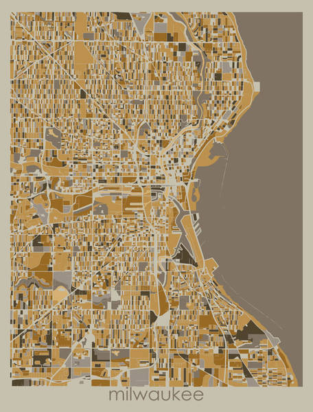 Wall Art - Digital Art - Milwaukee Map Retro 4 by Bekim M