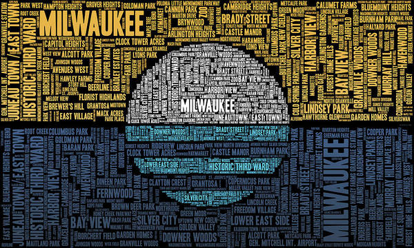 Lake Digital Art - Milwaukee Neighborhood Word Cloud by Scott Norris