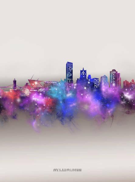 Wall Art - Digital Art - Milwaukee Skyline Galaxy by Bekim M