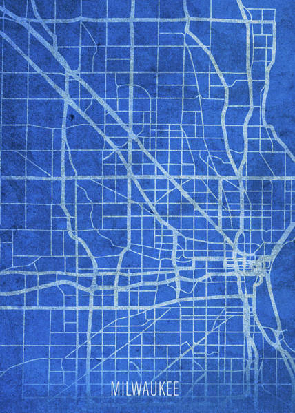 Wall Art - Mixed Media - Milwaukee Wisconsin City Street Map Blueprints by Design Turnpike