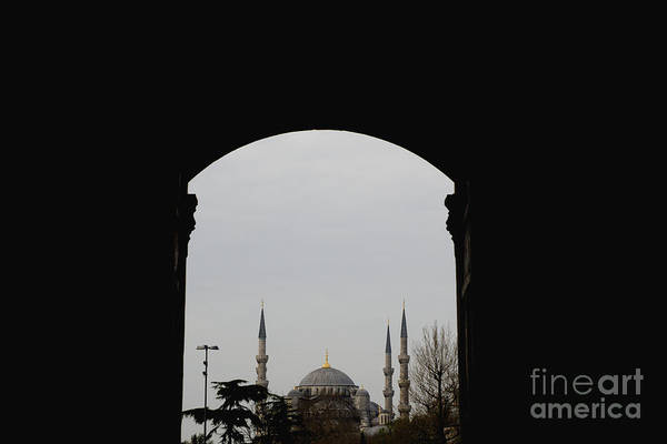 minarets in the city for the prayer of the Muslim religion Art Print