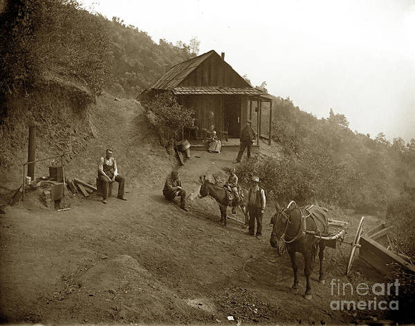 Photograph - Miners Cabin And Family With Outdoor Stove Circa 1903 by California Views Archives Mr Pat Hathaway Archives