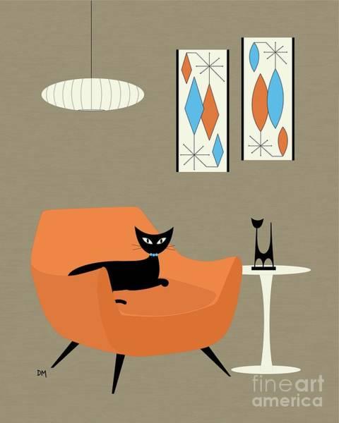 Digital Art - Mini Gravel Art Orange Chair by Donna Mibus
