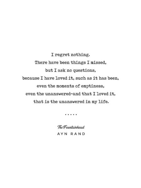 Minimal Ayn Rand Quote 03- The Fountainhead - Modern, Classy, Sophisticated Art Prints For Interiors Art Print