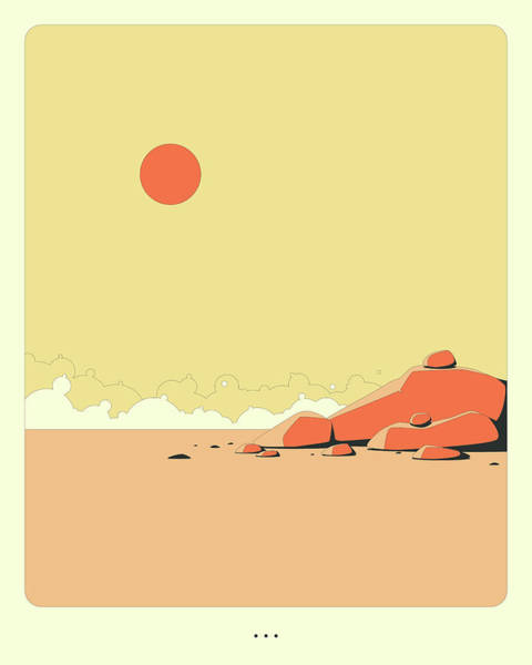 Wall Art - Digital Art - Minimal Landscape 15, Desert Rocks by Jazzberry Blue