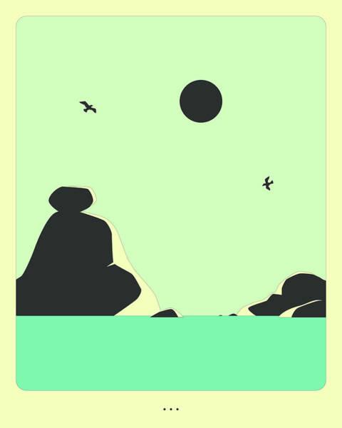 Wall Art - Digital Art - Minimal Landscape 21, Seascape by Jazzberry Blue