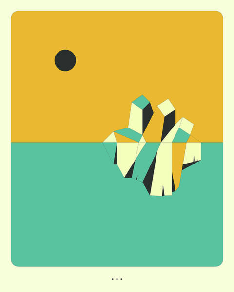Wall Art - Digital Art - Minimal Landscape 9, Iceberg by Jazzberry Blue