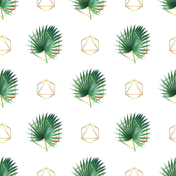Greenery Mixed Media - Minimal Tropical Palm Leaf - Palm And Gold - Gold Geometric Pattern 1 - Modern Tropical Wall Art by Studio Grafiikka