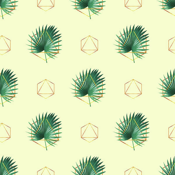 Greenery Mixed Media - Minimal Tropical Palm Leaf - Palm And Gold - Gold Geometric Pattern 2 - Modern Tropical Wall Art by Studio Grafiikka