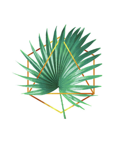 Palm Tree Mixed Media - Minimal Tropical Palm Leaf - Palm And Gold - Gold Geometric Shape - Modern Tropical Wall Art - Green by Studio Grafiikka
