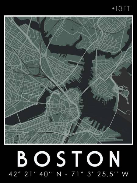 Wall Art - Painting - Minimalist Map  Of Boston V2 by Celestial Images