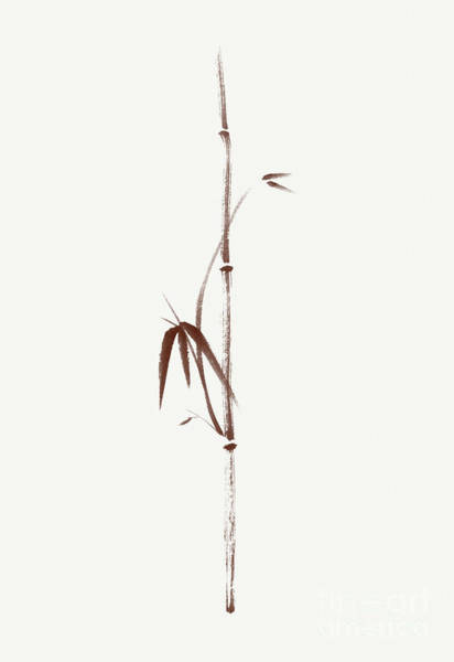 Single Leaf Mixed Media - Minimalistic Bamboo Branch With Leaves Sumi-e Artwork Brown On L by Awen Fine Art Prints
