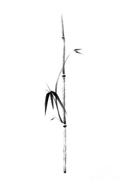 Single Leaf Mixed Media - Minimalistic Bamboo Branch With Leaves Sumi-e Style Illustration by Awen Fine Art Prints